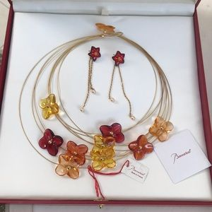 Baccarat Hortensia 18K Gold Necklace and Earrings